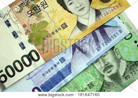 Full Frame Image Of South Korean Currency 50000, 10000 And 1000 Korean Won