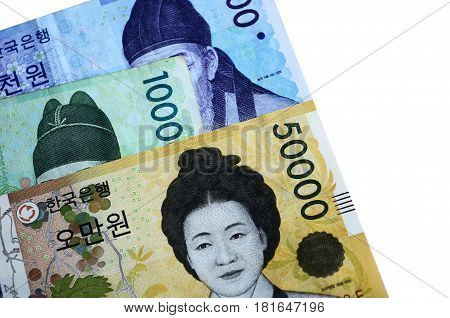 Full frame image of South Korean currency fifty ten and one thousand Korean won