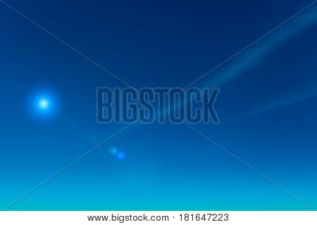 Skyscape, Clear Blue Sky With Brightness Star Lightning Shine With Gentle Cloud, Nature Minimalist L