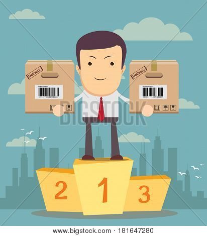Successful manager merchandiser or businessman. A man in a suit stand on a pedestal and hold a target with arrow , for use in presentations. . Vector EPS10.