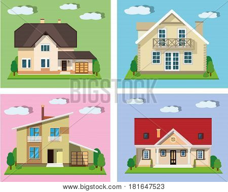 Set of detailed colorful cottage houses. Flat style modern cute buildings. Vector illustration.