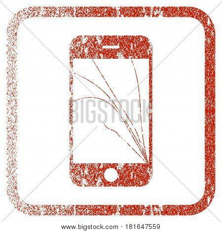 Smartphone Screen Cracks textured icon for overlay watermark stamps. Red vectorized texture. Flat red vector symbol with dirty design inside rounded square frame. Framed rubber seal stamp imitation.