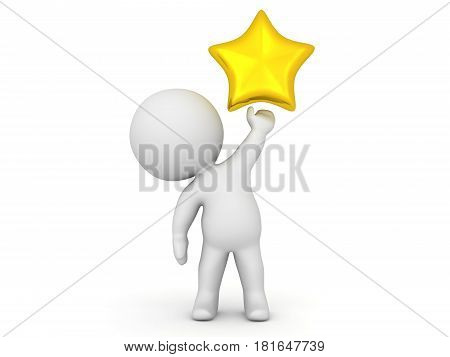 3D Character holding a shiny gold star in his left hand. The character is sitting in an imposing way