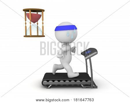 3D Character running on treadmill with hourglass next to him. Image depicting the duration of a workout.