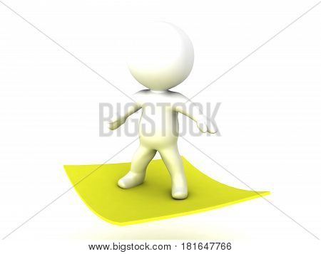 3D Character flying on yellow post it sticky note. This image combines the concept of a magic rug with that of office sticky notes.