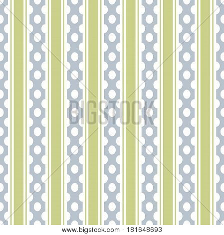 Abstract vector seamless pattern with vertical stripes and dotes. Colorful pastel background can be used for kids room or wrapping paper. Vintage and retro style print for interior or fabric design