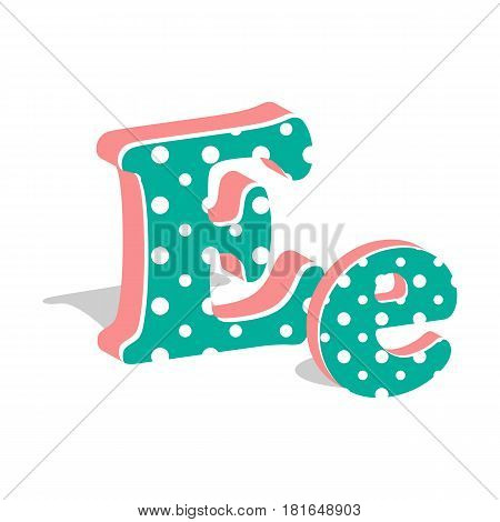 Capital and numeric cute dotted 3d letter E isolated on white background. Vector illustration. Element for design. Kids alphabet.