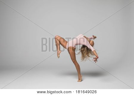 Beautiful Young Caucasian Dancing Woman Isolated