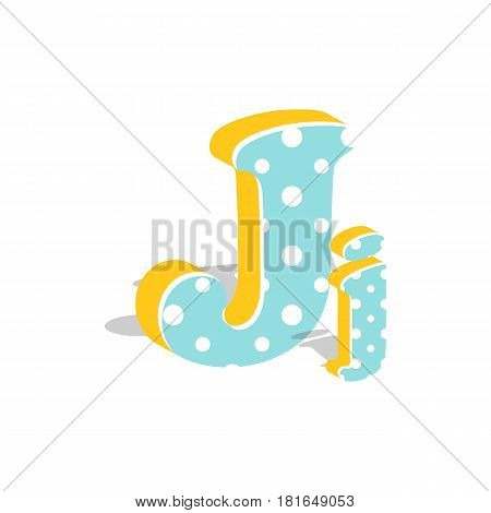 Capital and numeric cute dotted 3d letter J isolated on white background. Vector illustration. Element for design. Kids alphabet.