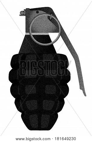 A hand grenade isolated on a white background