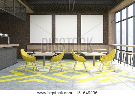 Coffee Shop With Posters, Yellow