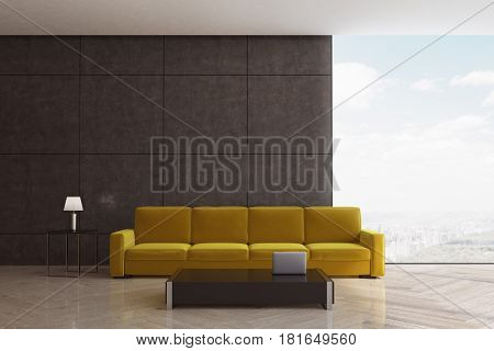 Minimalist living room interior with a yellow sofa standing near a black coffee table. Panoramic window. 3d rendering