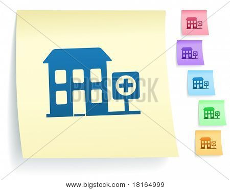 Hospital Icon on Post It Note Paper Collection Original Illustration
