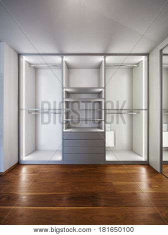 wide dressing room, interior of a modern house