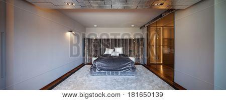 Modern wide luxury bedroom, king size