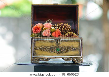 Plastic Rose Decoration In Casket, Vintage Style Interior