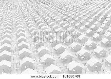 Small white houses many grid 3d illustration horizontal