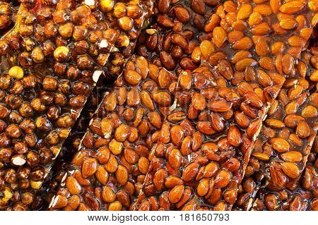 A Heap of crunchy almond on tray