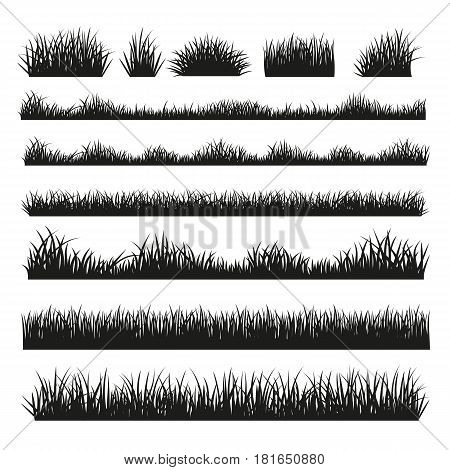 Grass field silhouette borders set on white background