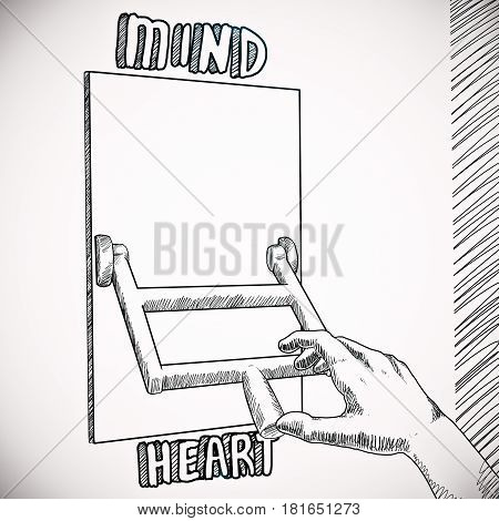 Drawing of hand switching to heart from mind mode