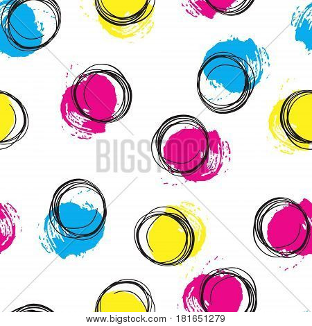 Vector colorful seamless pattern with brush blots and circle. Pink blue yellow black color on white background. Hand painted grange texture. Ink geometric elements. Fashion modern style. bright.