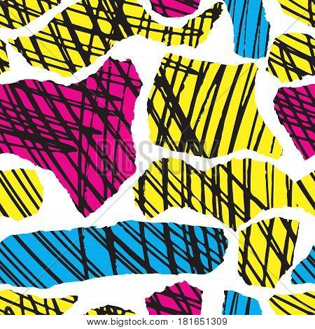 Vector colorful seamless pattern with brush blots and strokes. Pink blue yellow black color on white background. Hand painted grange texture. Ink geometric elements. Fashion modern style. bright.