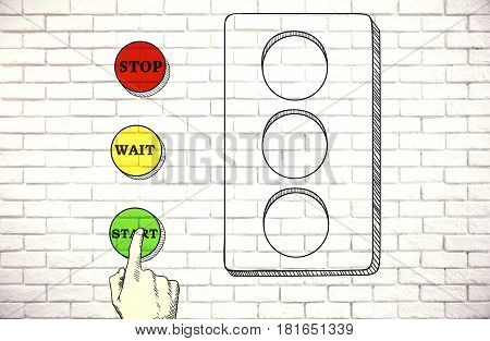 Sketch Of Hand Pressing Green Button