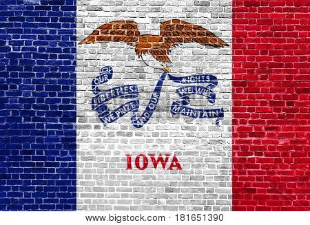Iowa US flag painted on old vintage brick wall