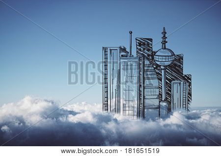 Abstract drawn city in bright blue sky. Urbanization concept