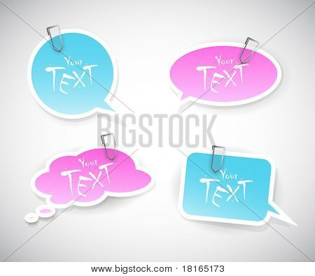 Set of blue pink stickers.