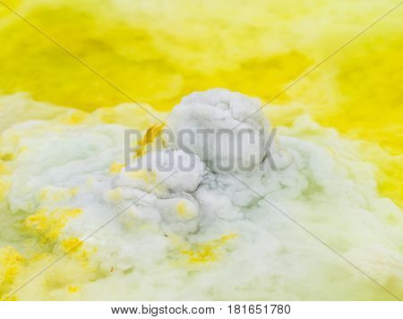 Mineral formations at sulphur lake Dallol in a volcanic crater in the Danakil Depression northeast of the Erta Ale Range in Ethiopia. The lake with its sulphur springs is the hottest place on Earth.