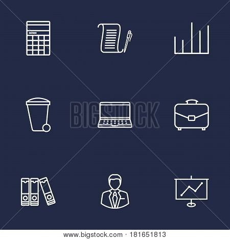 Set Of 9 Bureau Outline Icons Set.Collection Of Recycle Bin, Document Case, Administrator And Other Elements.