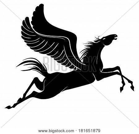 Silhouette of pegasus isolated on white background