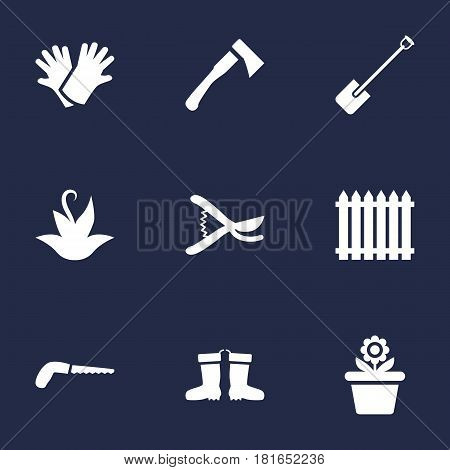 Set Of 9 Horticulture Icons Set.Collection Of Axe, Rubber Boots, Fence And Other Elements.