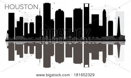Houston City skyline black and white silhouette with reflections. Simple flat concept for tourism presentation, banner, placard or web site. Cityscape with landmarks.