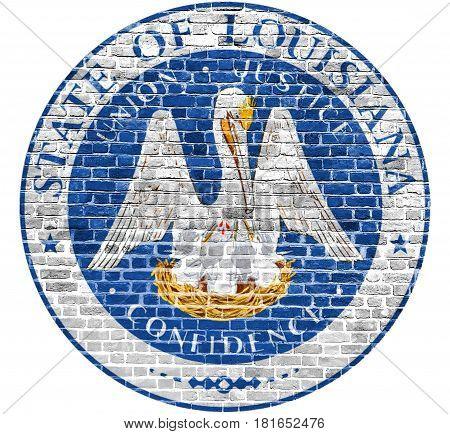 Louisiana Seal US flag painted on old vintage brick wall