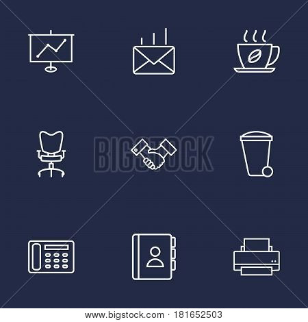 Set Of 9 Work Outline Icons Set.Collection Of Contacts, Hot Drink, Telephone Directory And Other Elements.
