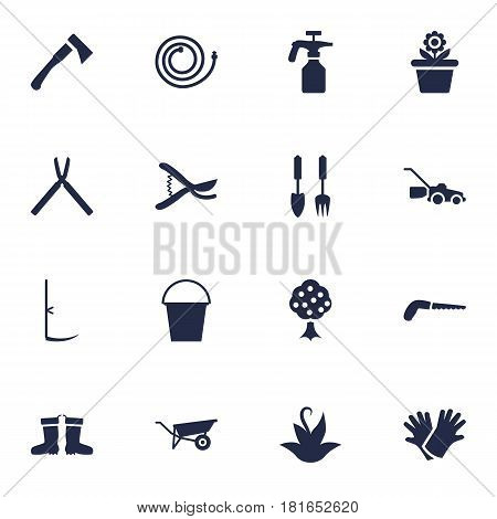 Set Of 16 Household Icons Set.Collection Of Scissors, Garden Hose, Bucket And Other Elements.