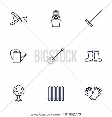 Set Of 9 Household Outline Icons Set.Collection Of Safer Of Hand , Palisade, Plant Pot Elements.