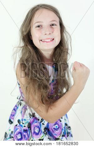 Cute teen girl emotional portrait on white background