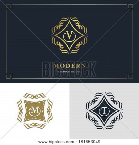 Monogram design elements graceful template. Calligraphic elegant line art logo design. Letter emblem sign V M T for Royalty business card Boutique Hotel Heraldic Jewelry. Vector illustration