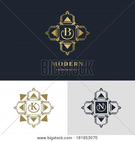 Monogram design elements graceful template. Calligraphic elegant line art logo design. Letter emblem sign B K N for Royalty business card Boutique Hotel Heraldic Jewelry. Vector illustration