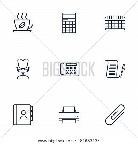 Set Of 9 Service Outline Icons Set.Collection Of Counter, Printing Machine, Workplace And Other Elements.