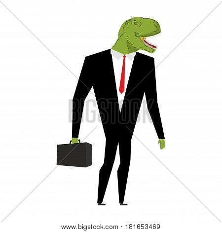 Tyrannosaurus businessman. dinosaur is boss. Dino manager. Suit and case