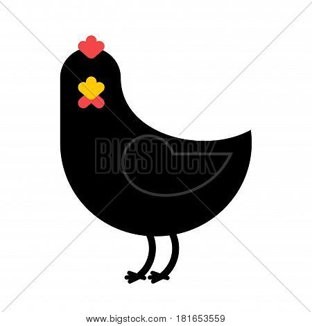Black Chicken Isolated. Unique Farm Bird On White Background. Accessory For Witch