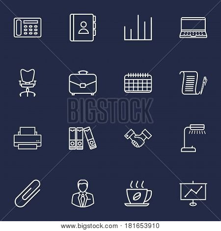 Set Of 16 Bureau Outline Icons Set.Collection Of Partnership, Fastener Paper, Notebook And Other Elements.