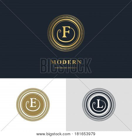 Monogram design elements graceful template. Calligraphic elegant line art logo design. Letter emblem sign F E L for Royalty business card Boutique Hotel Heraldic Jewelry. Vector illustration