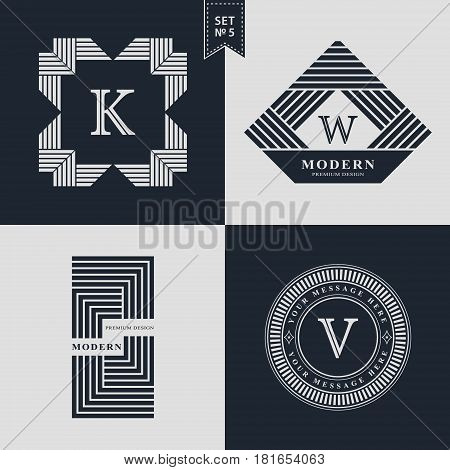 Design Templates Set. Logotypes elements collection Icons Symbols Retro Labels Badges Silhouettes. Abstract logo Letter K W V emblems. Premium Collection. Vector illustration