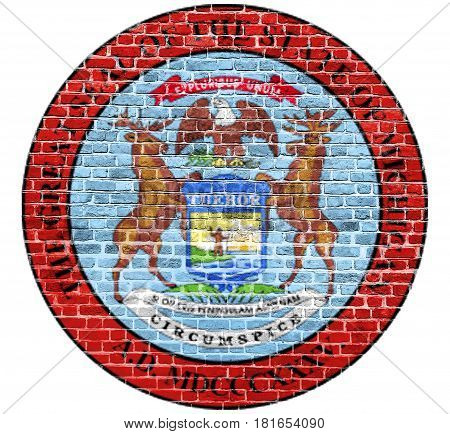 Michigan Seal US flag painted on old vintage brick wall
