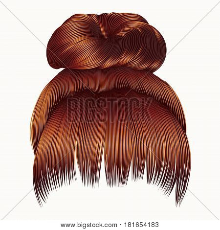 bun  hairs with fringe Red redhead ginger colors . women fashion beauty style .